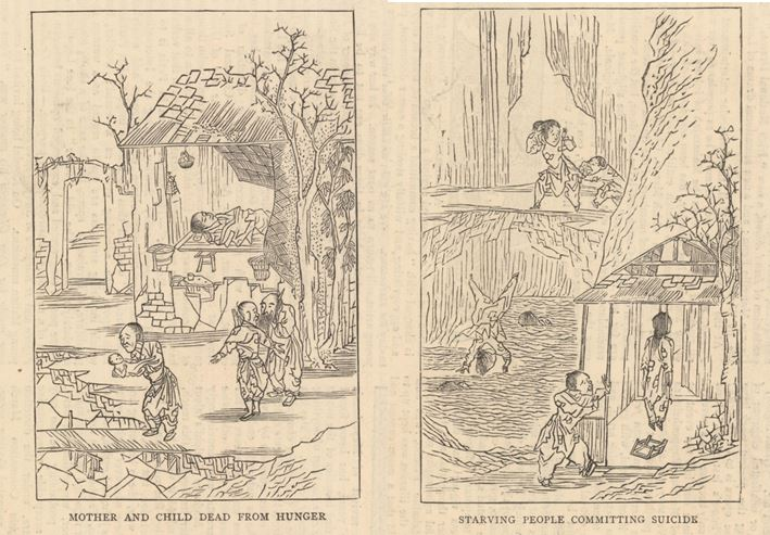"""Woodblock Print Illustration: """"Mother and Child Dead From Hunger"""" & """"Starving People Committing Suicide"""""""