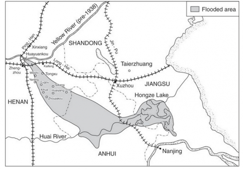Map of Yellow River course 1938 to 1947 China